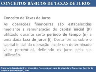 Conceito de Taxas de Juros