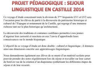 PROJET PÉDAGOGIQUE: SEJOUR LINGUISTIQUE EN CASTILLE 2014