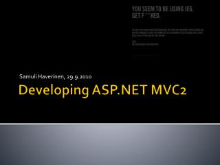 Developing ASP.NET MVC2