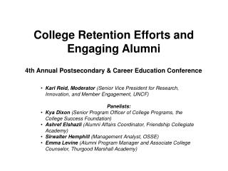 College Retention Efforts and Engaging Alumni