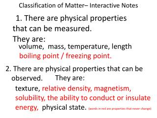 Classification of Matter– Interactive Notes