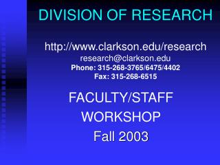 DIVISION OF RESEARCH  clarkson