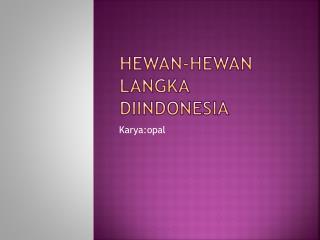 Hewan-hewan langka diindonesia