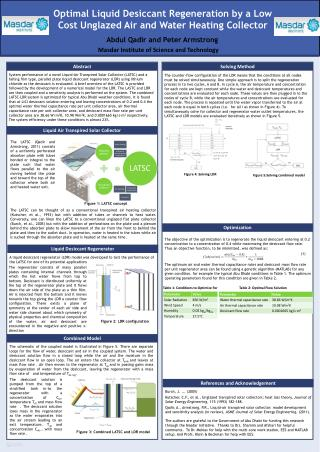 Optimal Liquid Desiccant Regeneration by a Low Cost Unglazed Air and Water Heating Collector