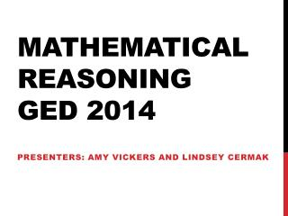 Mathematical Reasoning GED 2014