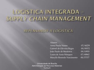 LOGÍSTICA INTEGRADA –  Supply chain management Repensando a logística