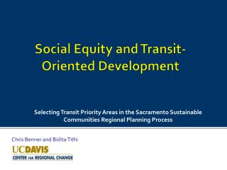 Social Equity and Transit-Oriented Development
