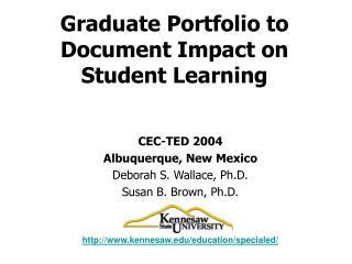 Graduate Portfolio to Document Impact on Student Learning
