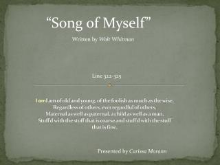�Song of Myself�