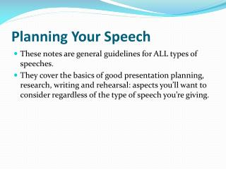 Planning Your Speech
