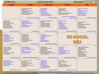 OCTOBER 2013   Lakeview Public School        LUNCH MENU