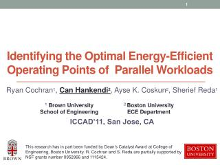 Identifying the Optimal Energy-Efficient Operating Points of  Parallel Workloads