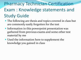 Pharmacy Technician Certification Exam : Knowledge statements and Study Guide