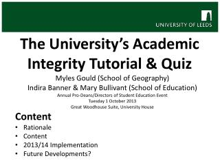 The University's Academic  Integrity  Tutorial & Quiz