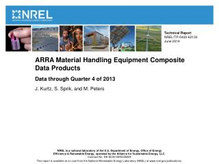 ARRA Material Handling Equipment Composite  Data Products Data through Quarter 4 of  2013