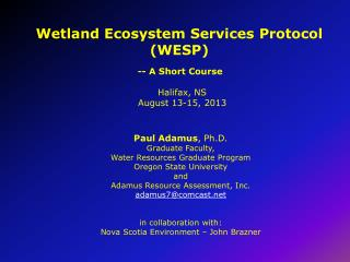 Wetland Ecosystem Services  Protocol (WESP)