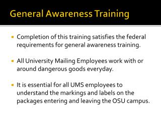 General Awareness Training