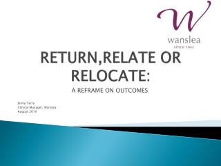 RETURN,RELATE OR RELOCATE: