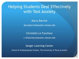 Helping Students Deal Effectively with Test Anxiety