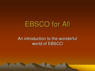 EBSCO for All