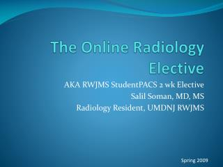The Online Radiology Elective