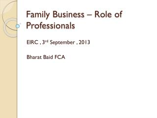 Family Business – Role of Professionals