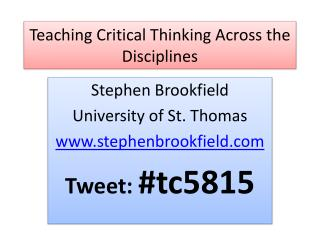 Teaching Critical Thinking Across the Disciplines