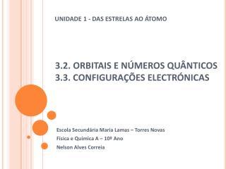 3.2.  ORBITAIS E  NÚMEROS QUÂNTICOS 3.3. CONFIGURAÇÕES ELECTRÓNICAS