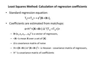 Least Squares Method: Calculation of regression coefficients