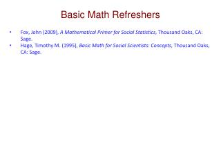 Basic Math Refreshers