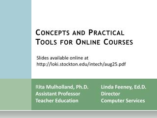 Concepts and Practical Tools for Online Courses