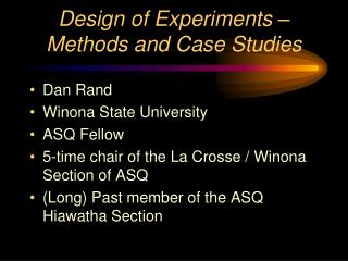 Design of Experiments –  Methods and Case Studies