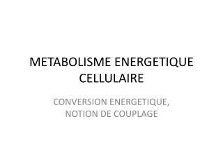 METABOLISME ENERGETIQUE CELLULAIRE