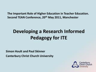 Developing a Research Informed Pedagogy for ITE