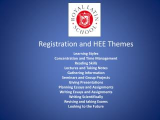 Registration and HEE Themes Learning  Styles  Concentration  and Time  Management Reading Skills