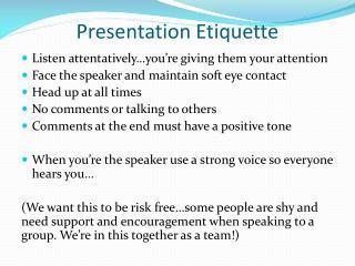 Presentation Etiquette