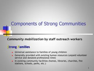 Components of Strong Communities
