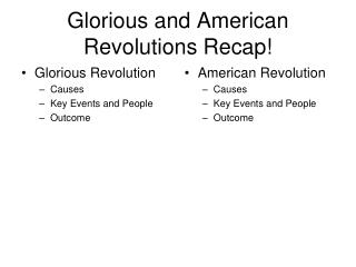 Glorious and American Revolutions Recap!