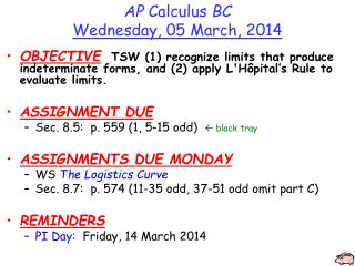 AP  Calculus  BC Wednesday, 05 March, 2014