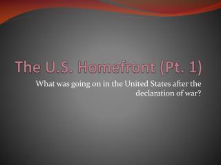 The U.S.  Homefront  (Pt. 1)