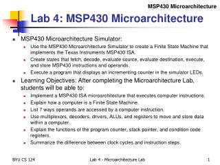 Lab  4:  MSP430 Microarchitecture