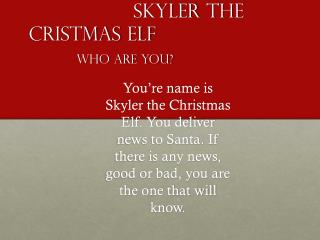 Skyler  the              Cristmas  Elf  Who are you?