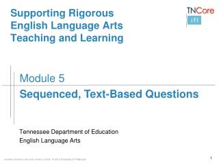 Supporting Rigorous  English Language Arts  Teaching  and Learning