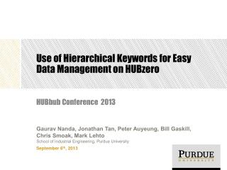 Use of Hierarchical Keywords for Easy Data Management on HUBzero