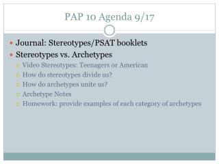 PAP 10 Agenda 9/17