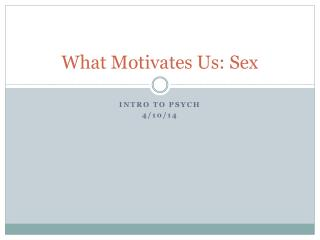 What Motivates Us: Sex