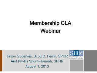 Membership CLA Webinar