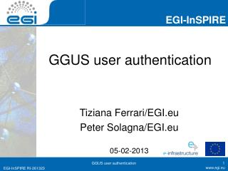 GGUS user  a uthentication
