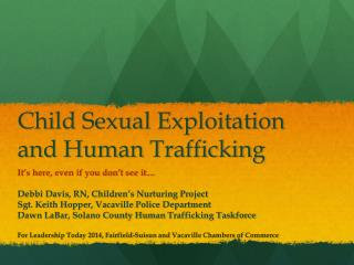 Child Sexual Exploitation and Human Trafficking