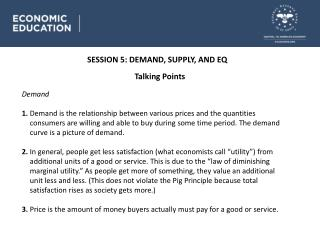 SESSION 5 : DEMAND, SUPPLY, AND EQ